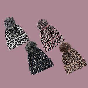 Leopard Print Beanies with Pom-Pom